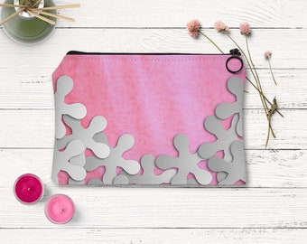 Pink and white floral pouch, Cosmetic bag, Toiletry pouch, Carry All Pouch, Flower clutch, Travl pouch, Easter gift for girlfriend, Adp033-1