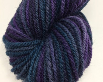 "Handspun Yarn Worsted Aran Texel 145 yds. ""Midnight Tweed"""