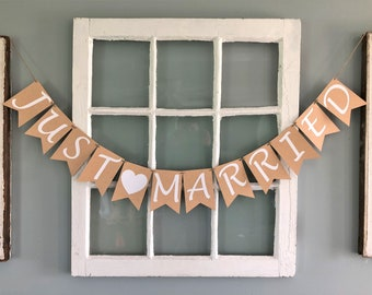 Just Married Banner, Wedding Banner, Wedding Reception Decorations, Just Married Sign, Wedding Photo Prop, Head Table Banner Sign