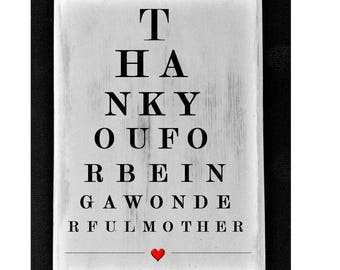 PERSONALISED eye test chart rustic plaque