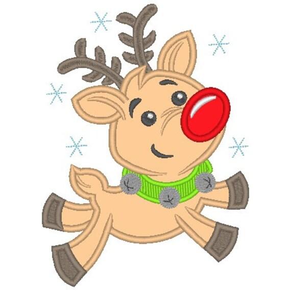 SAMPLE SALE, Flying Reindeer Boy Embroidered Shirt - Christmas Shirt - Boys Christmas Shirt - Rudolph Shirt - Kids Christmas Shirt