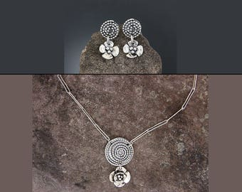 Sterling Silver Jewelry Set - Beaded Spiral and Dogwood Flower Jewelry - Dogwood Earring - Spiral Jewelry - Flower Necklace - Flower Earring