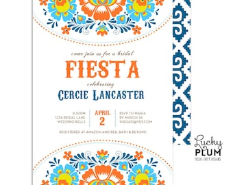 Fiesta Bridal Shower Invitation / Floral Bridal Shower Invitation / Mexican Bridal Shower Invitation / Bridal Shower Invitation / Folk Art