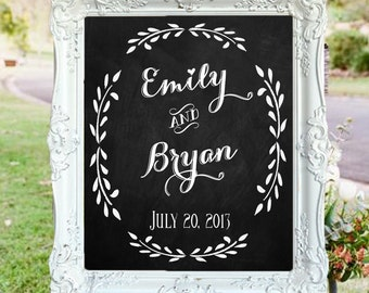 "Wedding Chalkboard- ""Welcome to the Wedding of"" with Couple's Names, Wedding Date & Location"