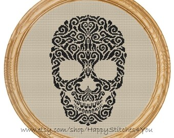 Cross Stitch Pattern PDF skull silhouette DD0115