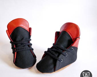Red Tip Black Lowtop Soft Sole Baby & Toddler Kicks | Lace up | Buffalo Plaid Lined