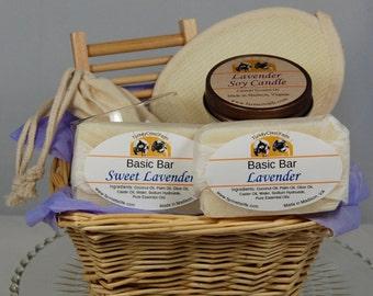 Lavender Spa Gift Basket, Natural Handmade Soap, Lavender Soy Candle, Holiday Soap Basket, Hostess gift, Housewarming Gift, Teacher Gift
