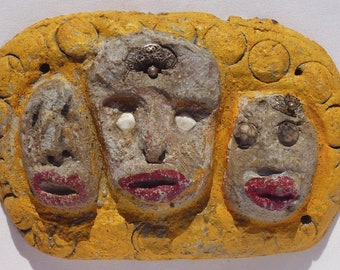 An unusual folky face made concrete and found objects. Outsider Art by Betty Davis. Wonderful Folk Art Face sculpture. (Offers Considered)