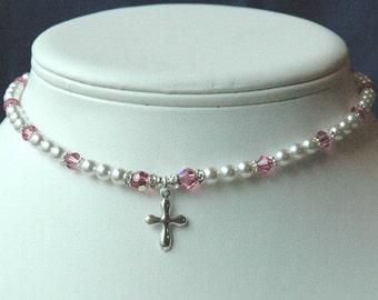 Swarovski Crystal Pearls Custom Children Silver  Necklace