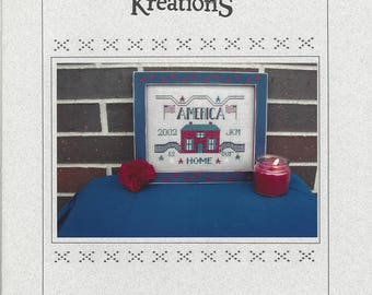 """Clearance - """"America is Our Home"""" Counted Cross Stitch Chart by Poppy Kreations"""