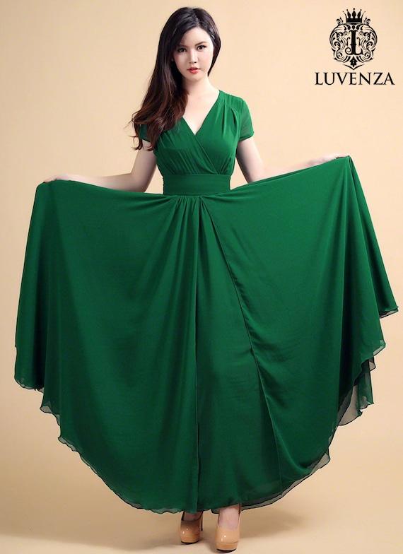 Wald grünes Maxi-Kleid mit V-Ausschnitt und Cap Sleeves & hohe