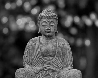 "Digital Download, Inspirational, Buddha, Buddha Art, Black, White, Photography, Yoga, Zen, Zen Art, Meditate, Printable, JPEG,  ""Meditation"""