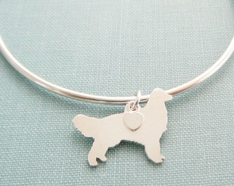 Golden Retriever Dog Bangle Bracelet, Sterling Silver Personalize Pendant, Breed Silhouette Charm, Rescue Shelter, Mothers Day Gift