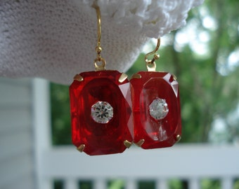SALE 1920's Art Deco Vintage Red Faceted Czech Crystal Glass Gold Earrings