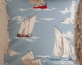 Sailing boats cushion cover - 100% cotton fabric