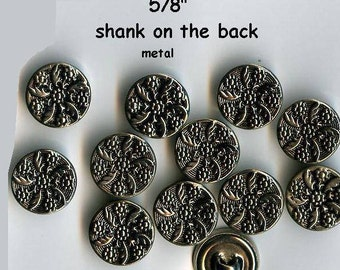 "12 to 1000 pcs. Metal 5/8"" Vintage Celtic Flower Shank Buttons Antique Silver 15mm-Costumes School Plays Medieval Renaissance Faire Clothing"