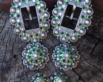 Custom Antique Green Crystal Buckle Set