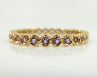 2.2mm Bezel Set Round Amethyst Eternity Band in 18k Yellow Gold - Stacking Rings