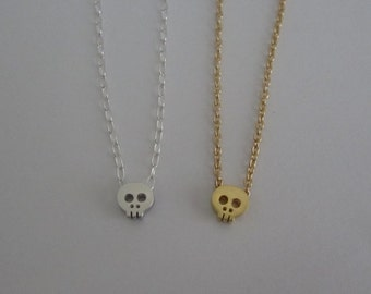 Tiny Skull Necklace. Silver OR Gold Skull Pendant. Simple Layering Necklace. Friendship Jewelry. Sterling Silver or Gold Filled Jewelry.