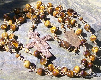 Masculine Rosary with San Damiano Crucifix, Bronze, Tiger Eye, Wire-wrapped, Unbreakable, Catholic