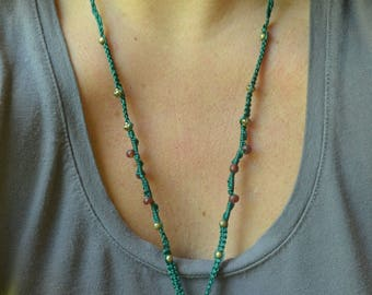 Handmade Unique Macrame Necklace with real Shell