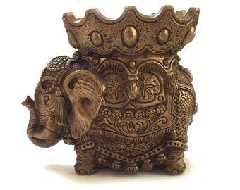 Vintage Plaster Elephant with Howdah / Universal Statuary Corp Elephant with Howdah / Vintage  Chalkware Elephant