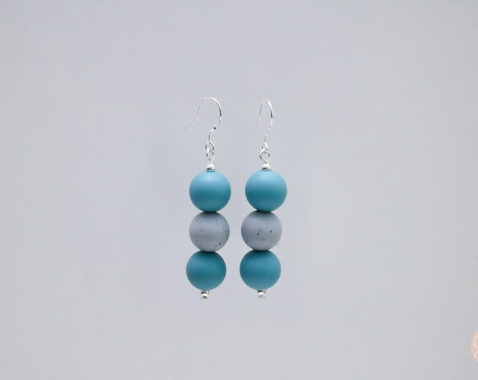 Mini Silicone Beaded Drop Earrings in Ocean Teal and Grey Granite.