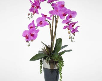 Real Touch Lavender Purple Phalaenopsis Orchid with Succulents in a Chrome Top Ceramic Vase #JS09