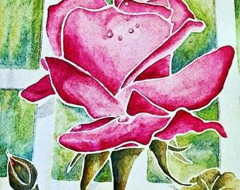 Pretty Pink Rose Giclee Print 10x10 Mixed Media