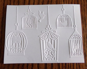 BIRDCAGES Embossed Card Stock Panels Perfect for Scrapbooking and Card Making - Set of 12
