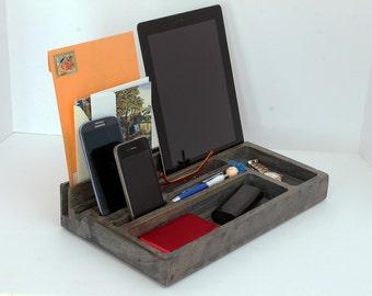 Desk Organizer, Wood Phone Docking Station, Charging Station, Wood iPhone Dock, letter organizer, office, storage, Gift, for him, For Her