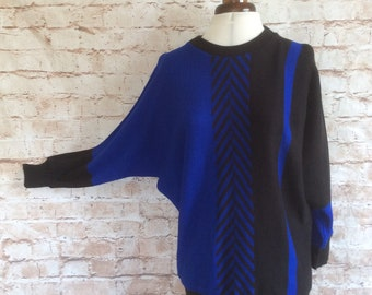 Vintage Sweater Jumper Pullover Batwing Acrylic Blue Black Chevron Design Made In England Boho Chic Bohemian c 1970s  Medium