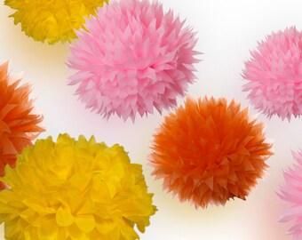 Tissue Paper Pom Poms Set of 9 - Sunshine decor
