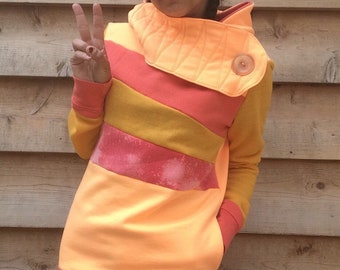 MELON MADNESS Handmade Hoodie Sweatshirt Recycled Upcycled One of a Kind  Ladies SMALL - Orange Yellow Pockets