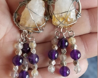 Citrine and Amethyst Earrings