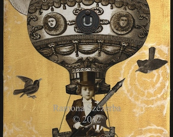 Steampunk Hot Air Balloon Collage