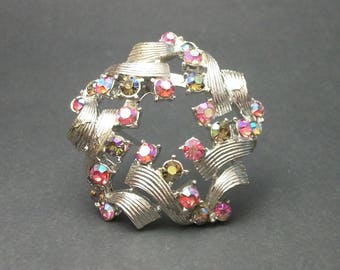 Vintage Silver Tone Pink and Green AB Rhinestone Brooch, Mid Century Jewelry, AB Silver Woven Ribbon Star Wreath Pin