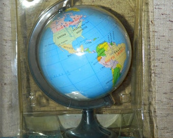 Vintage World Globe Pencil Sharpener in Package~A Small Round Table~Desk~Shelf~Collectible Globe~A Fun Place to Sharpen Your Pencils~Gift