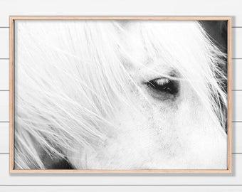White Horse Art, Icelandic Horse, Horse Print, Black and White Horse, Printable Art