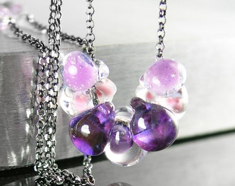 Amethyst Purple Necklace Sterling Silver Necklace Purple Artisan Glass Drop Necklace Purple Bead Necklace Amethyst Necklace February Jewelry