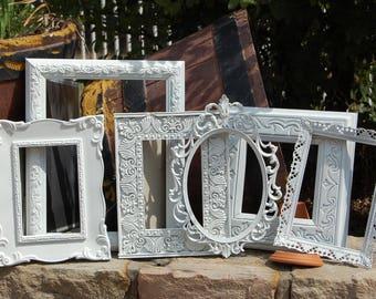 Spring SALE Shabby Chic Frames / Set Of 6 Gallery Picture Frames / Nursery Frame Set / Farmhouse Wall Decor
