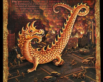 Monster art print, Juggernaut: golden dragon attacking city.  Alphabet Letter J, scary art, classic horror movie style fantasy painting