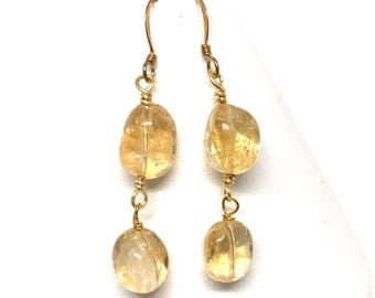 Citrine and Gold Earrings
