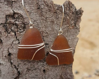 Sterling silver plated Wire wrapped brown seaglass Earrings