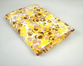 1960s flower power double / queen size sheet cotton percale roses retro bedding