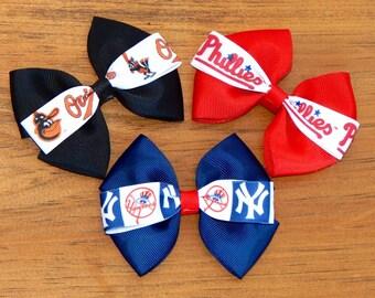 Baseball bow, Baseball headband, Orioles bow, Orioles headband, Yankees bow, Yankees headband, Phillies bow, Phillies headband