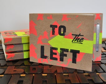 To the left notebook, woodtype letterpress and screen printed with French Paper company pages.