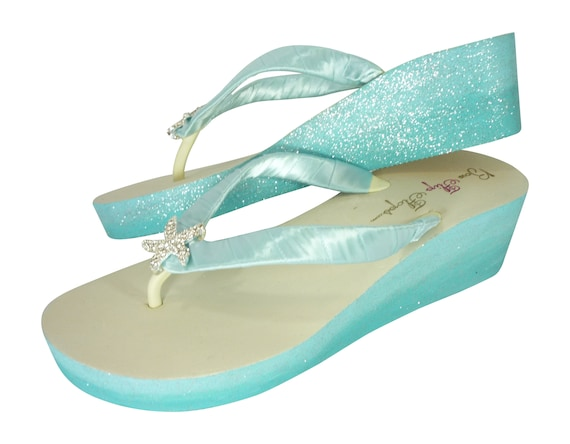 Starfish Blue Flip Ivory amp; white Royal Glitter in Ombre Wedding or Flops Wedges Light Heel Blue Beach for 0Iqd05wOx
