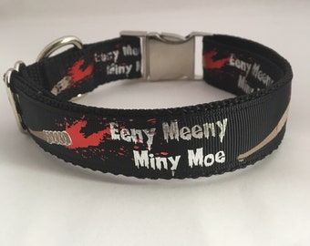 Eeny, Meeny, Miny, Moe Lucille dog collar, adjustable dog collar, inspired by The Walking Dead, silver buckle