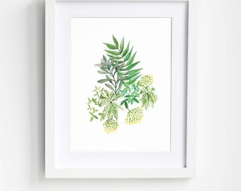 Leafy Bouquet Art Print-Plant illustration.Leaf illustration.Leaf art.Botanical art.Plant art.Plant lover gift.Greenery art.Minimilist art